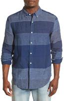 Lucky Brand California Fit Indigo Stripe Linen Woven Shirt