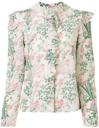 Giambattista Valli Ruffled Floral-Print Silk Shirt