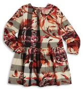 Burberry Little Girl's & Girl's Peony Rose-Print Check Cotton Dress