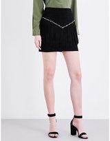 Maje Jaco fringe-detail suede skirt