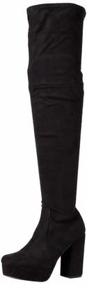 Steve Madden Women's Gotham Black Fabric Over-The-Knee Boot 4 UK