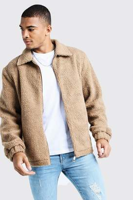 BEIGE BoohoomanBoohooMAN Mens Borg Jacket With Collar,