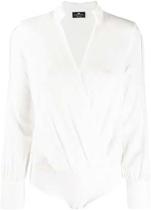 Elisabetta Franchi Long-Sleeve Wrap Bodysuit