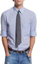 Brunello Cucinelli Mini-Check Woven Sport Shirt, Sky Blue