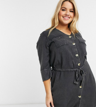 Wednesday's Girl Curve belted mini dress with faux horn buttons in denim