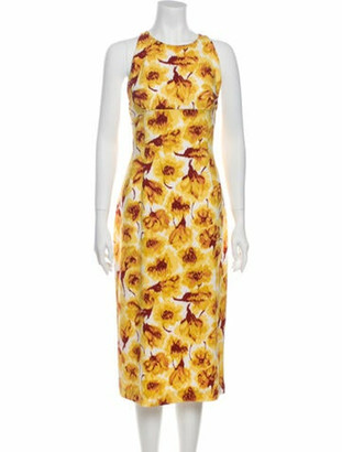 Bottega Veneta Printed Midi Length Dress Yellow