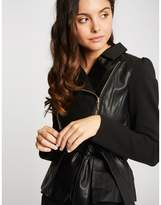 Morgan Dual Material Jacket with Tie-Waist