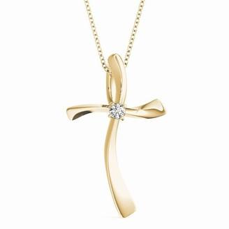 14KT 1/20 CT Single Solitaire Diamond Cross Pendant Necklace Amcor Design