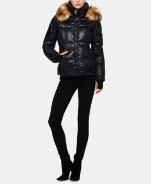 S13 Allie Faux-Fur-Trim Hooded Puffer Coat