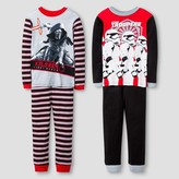 Star Wars Boys' Kylo Ren/Storm Trooper 4 Piece Cotton Pajama Set - Multi-Colored