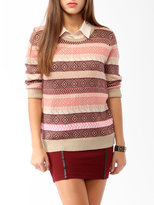 FOREVER 21 Intarsia Striped Sweater