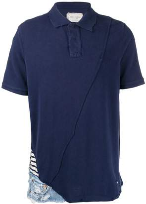 Greg Lauren twist panelled polo shirt