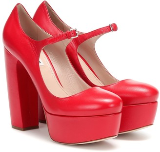 Miu Miu Leather Mary Jane platform pumps