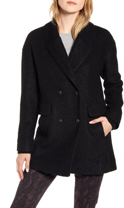 Kenneth Cole New York Double Breasted Rib Trim Pressed Boucle Peacoat
