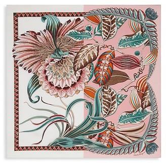 Salvatore Ferragamo Giada Split Graphic Floral Silk Scarf