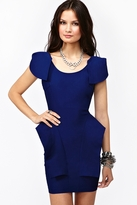 Nasty Gal Victoria Peplum Dress - Cobalt