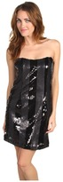 ABS by Allen Schwartz Strapless Stripe Sequin Dress (Black/Grey) - Apparel