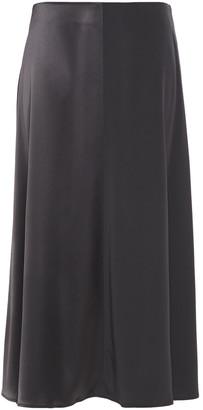 Co Paneled Satin And Crepe Midi Skirt