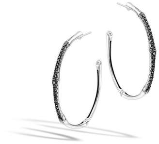 John Hardy Large Hoop Earring With Black Sapphire
