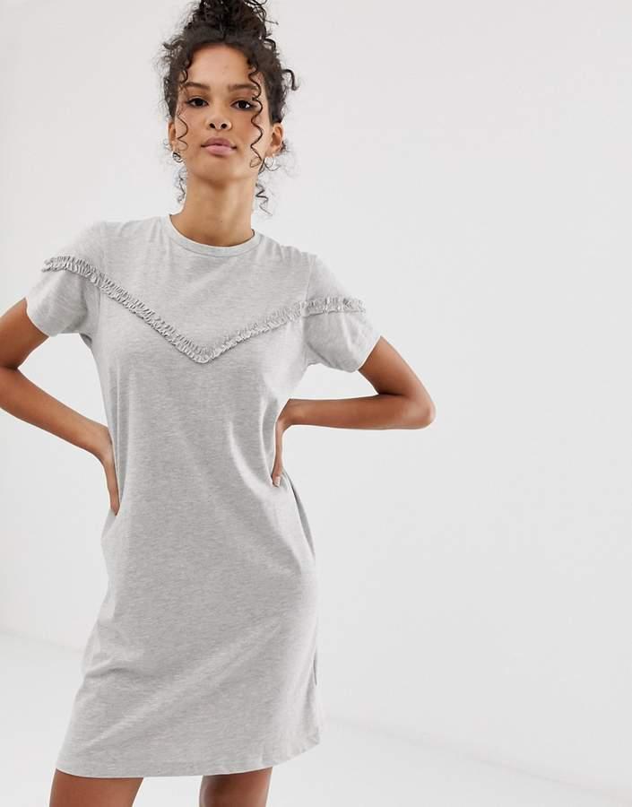 Brave Soul ruffle detail mini t-shirt dress in gray marl