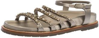 Chanel Metallic Grey Satin CC Chain Link Flat Sandals Size 38