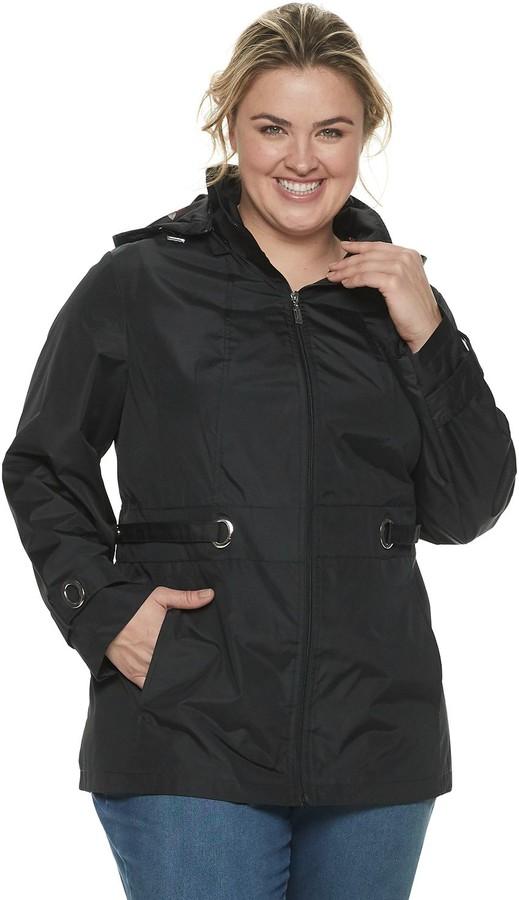 Details womens Cinchable-waist Coat With Cozy-trimmed Hood Down Alternative Coat