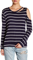C&C California Ava Striped Distressed Sweatshirt