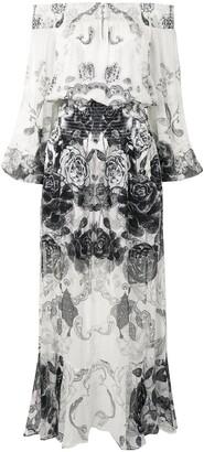 Camilla Midnight Pearl off-the-shoulder maxi dress