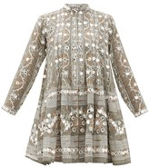 Juliet Dunn Embroidered And Mirror-applique Cotton Dress - Womens - Khaki Print