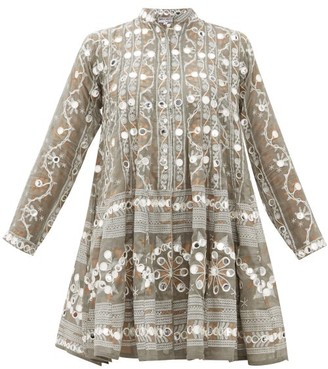 Juliet Dunn Embroidered And Mirror-applique Cotton Dress - Womens - Khaki Print