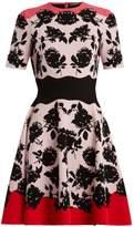 Alexander McQueen Short-sleeved rose-intarsia dress