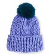 Eugenia Kim Rain Hat with Fur Pom Pom, Periwinkle/Teal