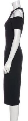 Victoria Beckham Crew Neck Midi Length Dress Black