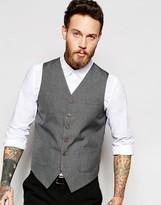 Asos Slim Waistcoat In Grey Dogstooth