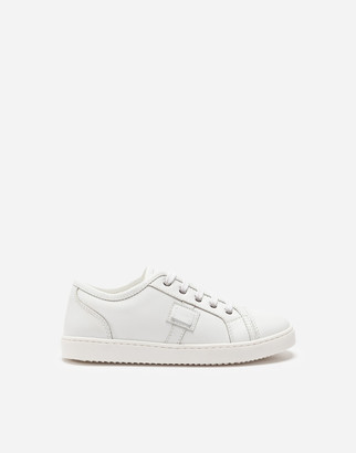 Dolce & Gabbana Leather Sneakers With Plaque