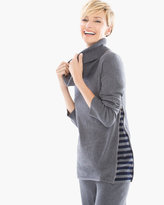 Chico's Cotton Cashmere Stripe Inset Sweater