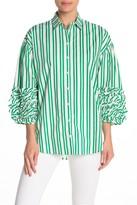 Tov Ruffle Sleeve Stripe Print Blouse