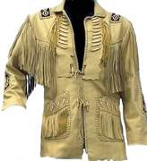 Sleekhides Men's Big Cowboy Original Leather Jacket, Beaded, Bones & Fringes 3X-Large