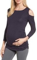 Isabella Oliver Women's Jennifer Dot Cold Shoulder Maternity Top