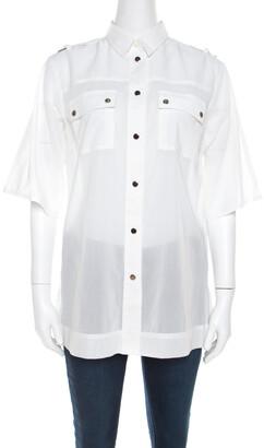 Dolce & Gabbana White Cotton Voile Metal Button Front Shirt M