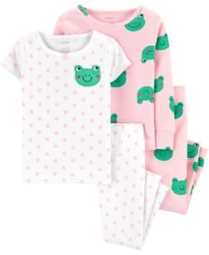 Carter's Baby Girls 4-Pc. Frog-Print Cotton Pajamas