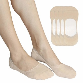 Autpro No Show Casual Ankle Socks for Women Low Cut Liners Cotton Non Slip Invisible for Running Flats Boats Loafers Canvas-Nude
