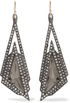 Alexis Bittar Gold and gunmetal-tone crystal earrings