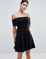 Asos Deep Bardot Mini Skater Dress