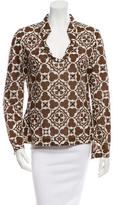 Tory Burch Sequin-Accented Long Sleeve Top