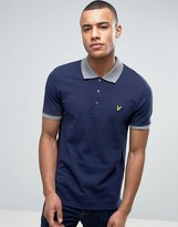 Lyle & Scott Pique Polo Contrast Rib Regular Fit Eagle Logo in Navy