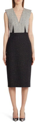 Alexander McQueen Tweed Bodice Donegal Midi Dress