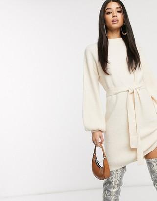 NA-KD Na Kd tie waist round neck mini knitted dress in off white