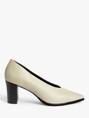KIN Arali Leather High Vamp Block Heel Court Shoes, White