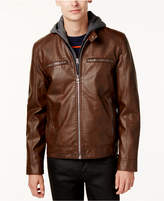 GUESS Men's Faux-Leather Detachable-Hood Motorcycle Jacket